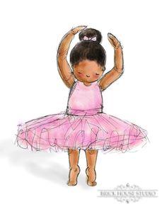 Children's Art, Nursery Art African American Ballerina, Print is part of African children Art - ref shop home active 6
