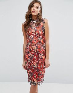 efbb3d6262 Paper Dolls High Neck Midi Dress in Multicolored Lace at asos.com