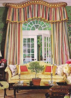 Curtains in the Dillon Room of Blair House decorated by Mario Buatta. 1988. Photo from Southern Accents. The Devoted Classicist