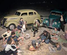 Evening Picnic at Huntington Beach, 1937 (colorized by Wayne Degan)