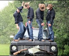 Adam | Carter | Davis | Charlie | on top of Brett's truck after he and Julia are married