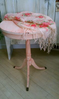 sweet small round shabby table  sold