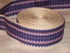 Cream lavender purple and black hand woven inkle by applegirl5, $40.00