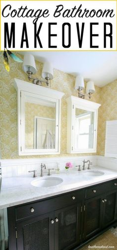 cottage bathroom   farmhouse style bathroom makeover from heatherednest.com love the yellow paisley wallpaper and pebble tile!!
