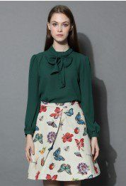 Take a Bow Blouse in Evergreen