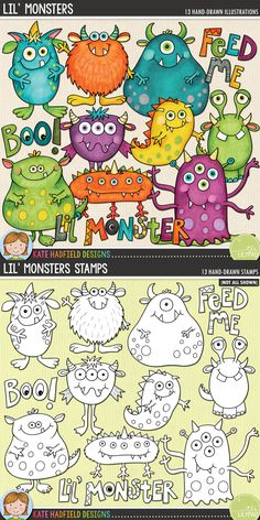 A fun set of colourful, friendly monsters to add some hand drawn whimsy to your pages and projects! Lil' Monsters was originally released in 2009 and has been revamped and refreshed ready for spooky goings-on this Halloween! #katehadfielddesigns