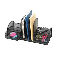 Features: -Organizer. -Organize with three vertical sections for file folders or binders. -Store small items in two slide-out baskets for easy access. -Side shelves are designed for small electron