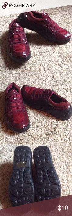 Croc Inspired Sneakers Brand New- Burgundy patent color. So cute!!! Priced to sell - bundle them with another item! CROCS Shoes Athletic Shoes