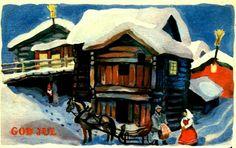 Julekort Torbjørn Egner brukt 1946
