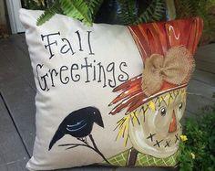 New Fall Halloween Cat Pumpkin Pillow Cover Fall by SippingIcedTea