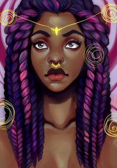 Inspiring image hair, african american, box braids, piercing, purple by - Resolution - Find the image to your taste American Art, African, Afro Art, Beauty Art, Female Art, Art Girl, Black Girl Art, Art, Beautiful Art