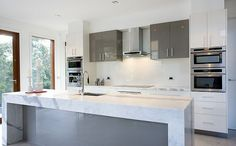 Strong proportions and symmetry make older kitchens such as this one still visually appealing.