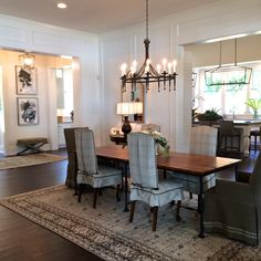 This dining room table captured by The Interior Maven at the Nashville Symphony Show House is made from the Nashville Municipal Auditorium floor- Gathering Room by Mark Simmons Interiors