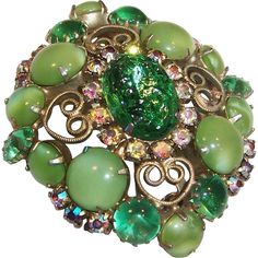 Green Art Glass & Aurora Borealis Brooch