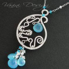 Vanini on Etsy  This intricate wirewrapped necklace features a focal pendant composed of various gauges of Sterling Silver wire and shaped, hammered, coiled ,wrapped and decorated with 2mm sterling silver round beads,neon blue apatite and amazing chalcedony briolette.  The bottom of the focal have been adorned with 3 chalcedony briolettes with a rich neon blue apatite and rainbow moonstone rondelles.