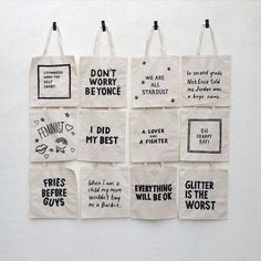 It was fun making these welcome totes with @paulferney for our guests. We made each tote (paul painted all of them) based on my personal life philosophies, experiences, things that I like and phrases I say. #jordamnthisisfun