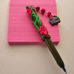 polymer clay covered ink pen by DawnsClayFantasy on Etsy, $10.00