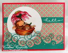 #Stampendous, #House Mouse Supply List: HMQ05 Cling Daisy Float from House-Mouse Designs® SSC109 Happy Messages by Stampendous DP100 Detail White embossing powder Memento tuxedo black dye ink, VersaMark ink copic markers Bazzill colored cardstock, Mohawk Bright white, Echo Park Sweet Girl patterned paper pack Memory Box Big Splash Border Die, Spellbinders circle die
