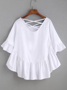 White Crisscross Back Ruffle Top -SheIn(Sheinside)