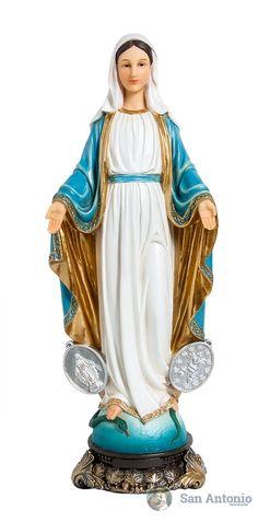 Virgen Milagrosa: El 27 de noviembre de 1830 la Virgen Santísima se apareció a Santa Catalina Labouré, humilde religiosa vicentina, y se le apareció de esta manera: La Virgen venía vestida de blanco. Junto a Ella había un globo luciente sobre el cual estaba la cruz. Nuestra Señora abrió sus manos y de sus dedos fulgentes salieron rayos luminosos