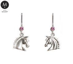 VŠECHNY ŠPERKY   Náušnice koně Vivian a přírodní kámen růženín - růžové   MILADY šperky, jezdecké a koně