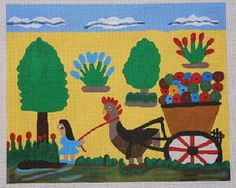 Chicken Pulling a Wagon of Zinnias by Clementine Hunter
