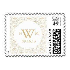 Deco Seigaiha Monogram Postage Stamps