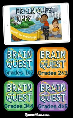 Brain Quest Apps for Kids Grade k to 5, math, science, language, social study. Review and practice study with fun. Great for helping kids ready for back to school, preventing summer slide, and for travel.