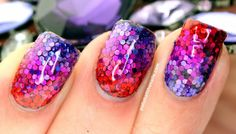 Polish All the Nails: My 500th Post: Red-to-Purple Mermaid Nails!