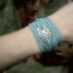 Celtic Knot Bracelet- Silver & Silk Wrap Bracelet- Artisan Handcrafted with Recycled Silver and Hand Dyed Silk by SilvanArts on Etsy https://www.etsy.com/listing/88076583/celtic-knot-bracelet-silver-silk-wrap