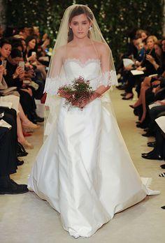 "Carolina Herrera - Spring 2016. ""Jacqueline"" strapless mikado A-line wedding dress with a sweetheart neckline and Chantilly lace trim, Carolina Herrera"