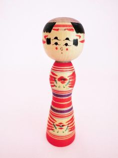 Yajiro kokeshi doll from Japan, vintage. Love the unusual eyes and eyebrows! Available on folkeshi.com