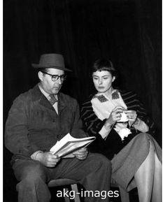 Roberto Rossellini with his (knitting) wife Ingrid Bergman