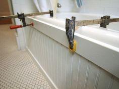 Update a Bathtub Surround Using Beadboard.