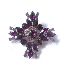 Rhinestone Maltese Cross Brooch, Vintage Malta Cross Pin,  Purple Cross Pendant,  Navette Stones, Sparkling Beauty #maltesecross #maltacross #maltesecrossbrooch #maltesecrosspin #maltesecrosspendant #purplemaltesecross