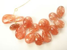 Sunstone Smooth Pear / 8x11 to 11x15 mm / 14 Pieces / ST-1018 by beadsofgemstone on Etsy