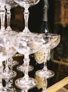 Classic crystal coupes with a bottle of Dom Perignon. Design & Hire by And Then We Got Married. Photography by Alexander J Collins. Drinks Alcohol Recipes, Alcoholic Drinks, Cocktails, Champagne Fountain, Dom Perignon, We Get Married, Wine Guide, Art Deco Wedding, Birthday Dinners