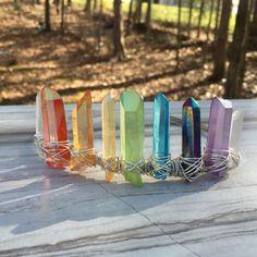 Bohemian Crystal Crown- Aura Quartz Crown- Bohemian Bridal Crown- Festival Headpiece- Crystal Crown- Crystal Tiara- Crystal Bridal Tiara by BlueLotusDesignsShop on Etsy https://www.etsy.com/listing/259543124/bohemian-crystal-crown-aura-quartz-crown