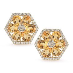 JENNIFER YAMINA EARRINGS: 14k yellow gold staple earring with white diamonds and pear shape citrine stone.