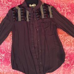 boho button up top from urban outfitters! maroon, boho button up top w/ pocket in the front. I will iron it before shipping it!! Staring at Stars Tops Button Down Shirts