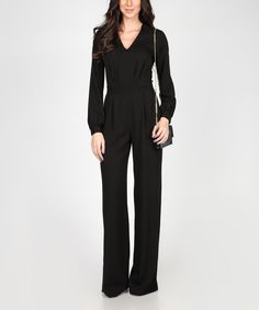 Loving this Black Long-Sleeve V-Neck Jumpsuit on #zulily! #zulilyfinds