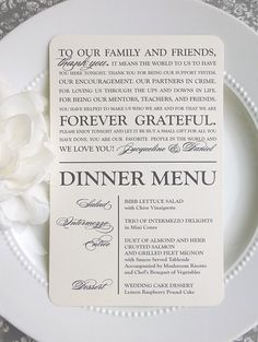 PRINTED Wedding Reception Thank You Menu by ThatPrettyInvitation  #weddingmenu #wedding #menu #thankyou #weddings #weddingdetails #weddingideas