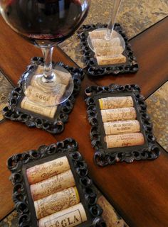 Love! coasters made from tiny picture frames and wine corks