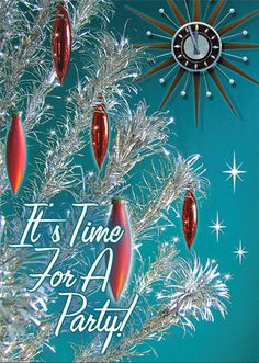 Silver Tree Christmas Party Invitations feature a gleaming vintage aluminum Christmas tree and mid century atomic style clock, ready to strike midnight. This silver Christmas tree with modern red ornaments will bring sparkle to your holiday!