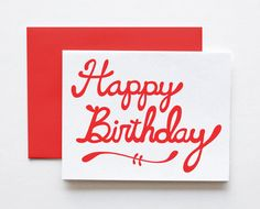 Happy Birthday Screenprinted Card, Hand Lettered by The Paper Cub Co.