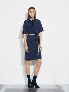Markus Lupfer | Resort 2017 | 14 Blue belted short sleeve shirt-dress