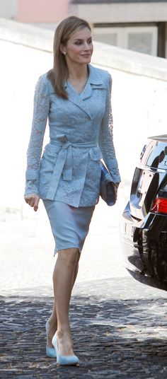 Queen Letizia of Spain on a state visit to Portugal July 7, 2014