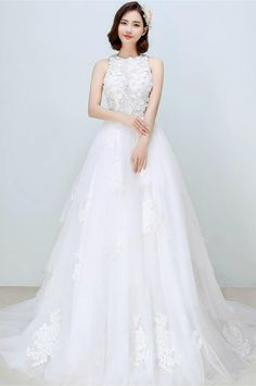 Lydia - Selena Huan Illusion Lace Tank Layered Tulles Ball Gown