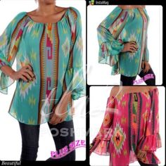 """ON SALE! ABSOLUTELY BEAUTIFUL AZTEC SHEER TOPS! Choose pink or turquoise in these pretty, 100% polyester sheer tops. Soft, flowy and very flattering. Wear with your favorite cami and change the colors for a new look. Made in the USA NWOT. PLEASE DO NOT BUY THIS LISTING! I will personalize one for you.♦️PINK OR TURQUOISE. 2X left: BUST 50"""" 3X: one pink 52"""" bust tla2 Tops"""