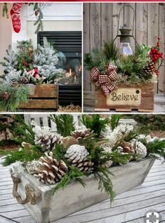 Awesome DIY Rustic Christmas Decorations You'll Love! Wooden centerpieces for Christmas Christmas Planters, Christmas Porch, Farmhouse Christmas Decor, Noel Christmas, Primitive Christmas, Outdoor Christmas, Christmas Wreaths, Holiday Decor, Rustic Christmas Crafts